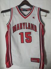 Vintage Maryland Terrapins White #15 Basketball Jersey Colosseum Youth Med 12-14