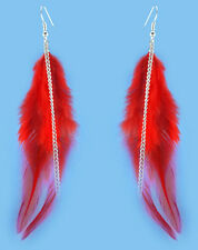 F3510 fashion red Feather chain cute dangle earrings jewelry