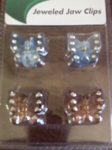 Jeweled Jaw Clips Pack of 4 ~ 2 Blue & White, & 2, 2 Tone Orange w/Crystals Claw
