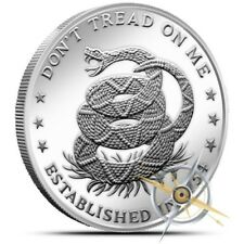 "NEW 1oz Fine Silver  ""Don`t Tread On Me, Eternal Vigilance Round w/Capsule&Pouch"