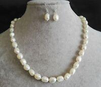 Barock Perlenkette , 9-10 mm weiß Süßwasser Perlenkette Ohrring -Set, 17 Zoll