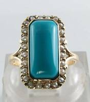 LARGE 9CT 9K GOLD  PERSIAN TURQUOISE & PEARL ART DECO INS RING FREE SIZE