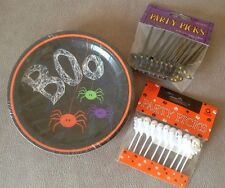 "Halloween Spider Frenzy Paper Plates Packet of 12 x 7"" Plates Great Party Fun"