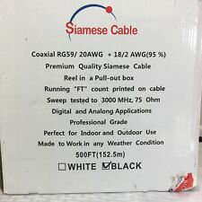 Rg59 Siamese 20Awg Cable Coaxial + 18/2 Reel in a Pull Box - Black 444ft