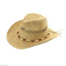 100% STRAW COWBOY HAT LADIES MENS BEAD BAND DESIGN BAND NEW