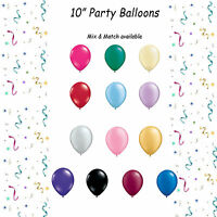"""10"""" LATEX PARTY BALLOONS PACK OF 10. RED, BLACK, BLUE, PINK, YELLOW, GREEN ETC"""