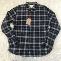 Weatherproof Vintage Brushed Flannel Plaid Shirt Navy Mens Small New