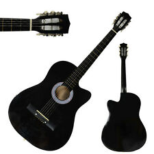 New 38 Inch Acoustic Guitar Cutaway Design Black + String + Pick