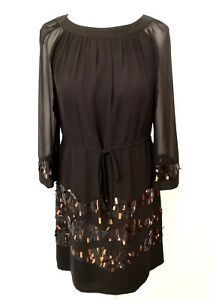 MONSOON black DRAWSTRING WAIST TUNIC dress with COPPER & BLACK SEQUINS 10 38 NEW