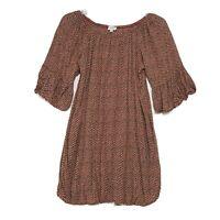 Umgee USA Chevron Tunic Top Dress Short Bell Sleeves Sz M Wide Neck Above Knee
