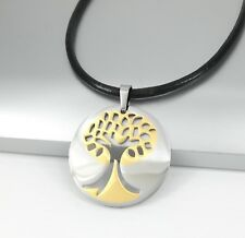 Silver Gold Celtic Tree Of Life Pendant Womens Men Black Leather Choker Necklace