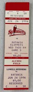 MiLB 1996 06/26 Batavia Clippers at Lowell Spinners Baseball FULL Ticket