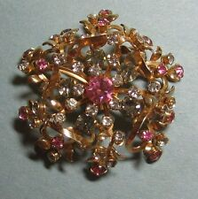 Vintage Pink Gray Clear Rhinestone Domed Brooch Pin Goldtone