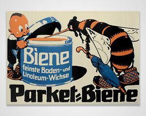 Original Large Antique 1940s Graphic Beeswax Floor Wax Poster - Parket-Biene