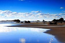 Encadrée Imprimer-grosses roches sur une plage de l'océan (Photo Poster Art Sea Island)