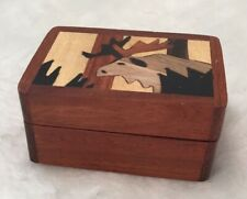Moose Wooden Box Inlaid Wood Decorative Trinket Jewelry Box Treasure Chest