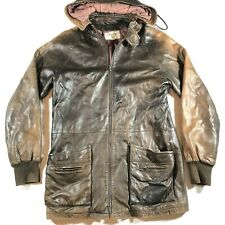 Valentino Uomo Made in Italy Soft Leather Hooded Jacket Mens Size 40