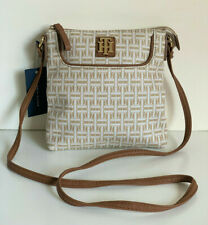 NEW! TOMMY HILFIGER NATURAL BROWN CROSSBODY SLING MESSENGER BAG PURSE $65 SALE