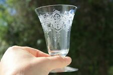 Etched Footed Water Glass Ice Tea Urns Chintz Flowers Pattern Vintage
