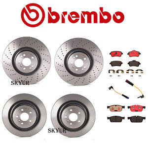 Brembo Front&Rear Brake Rotors With Brake Pads&Sensors For Mercedes W164 W166