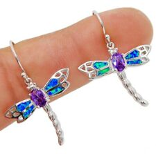 Dragonfly Amethyst & Australian Opal Inlay 925 Sterling Silver Earrings Jewelry