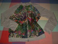 Jersey abierta chaqueta surkana gris y colorida tela fina por encima preciosa S