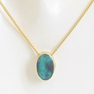 Natural black opal 1.26ct pendant set in 14ct yellow gold Made in Australia