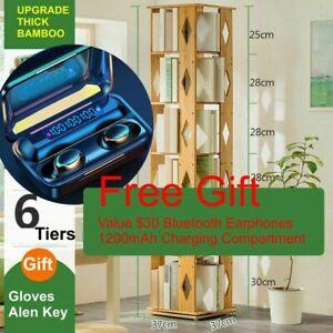Space Saving Rotating Bookshelf Diamond Style 6 Tiers with Free Gift Earphone