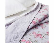 Simply Shabby Chic Linen Blend Cottage Purple Rose Floral Quilt - King