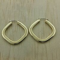 UK Hallmarked 9ct Gold Large Diamond Shaped Hoop Earrings RRP £260 (GY27)