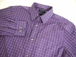Banana Republic Mens Shirt L Collared Long Sleeve Button Cotton Checkered Purple