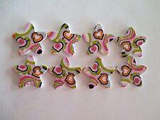 8 x 25mm STAR Shape Wooden Buttons -Heart Design - 2 Holes - No.980