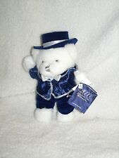 "Celebrate the Millennium Blue White Silver Teddy Bear 2000 Small 9"" NEW"