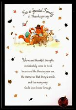 Thanksgiving Squirrels Bunny Rabbits Mice Gold Shine Thanksgiving Greeting Card