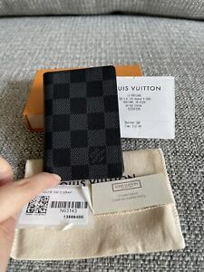New Full Set LOUIS VUITTON Damier Graphite Slender Pocket Organizer N60256