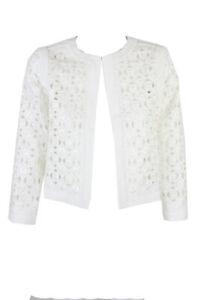 Tahari Asl Petite Optic White Collarless Laser Cut Front Kiss Jacket 4P