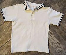 Gymboree Boy's Solid White Blue Striped Top Shirt Sz 5 Boys School Uniform