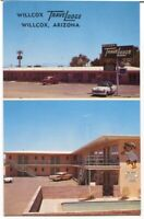 012113 1950s Autos at Travelodge Motel Vintage Willcox AZ Roadside Postcard