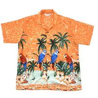 WUWATU Mens Size Medium Parrot Theme Hawaiian Shirt