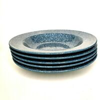 Mikasa Country Blue Ultrastone Flat Rimmed Soup Salad Bowls Set 5 White Specks