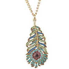 """Kirks Folly Josephine Wall Spirit Of Flight Peacock Feather Necklace-Large 3"""""""