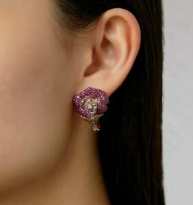 2.50 Ct Ruby & Champagne Sim Diamond Stud Earring 14K Rose Gold Plated Silver
