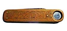 Antikes Messing Taschenmesser Brass pocket knife fine antique Laiton 8cm *5953