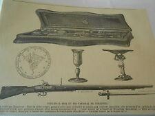 Gravure 1860 - Principaux prix du Tir National de Vincennes