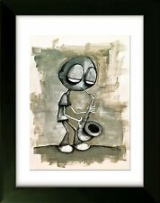 Limited Edition Drawing with Frame - Sax - Art by SLAZO - 16x20