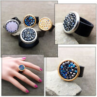 Large Ring Black Real Leather Spakly with Swarovski crystals Cocktail Party