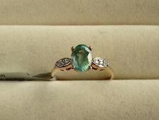 1.10Ct Zambian Emerald Solitaire & White Zircon 10K Yellow Gold Ring Size P-Q/8