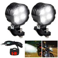 2X 40W Motorcycle 4 LED Spot Light Headlight Fog Driving Lamp Lights & Switch UK