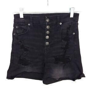 American Eagle Curvy Super Hi-Rise Shortie Button Fly Distressed Black Shorts 4