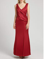 New ARIELLA John Lewis Rose Satin Long Maxi Evening Party Red Dress Size 10 £175